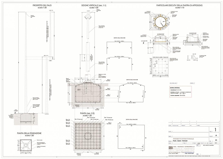 Progetto di un palo in acciaio h.20m per trasmissione radio dell'impianto di videosorveglianza dello stadio di Terni